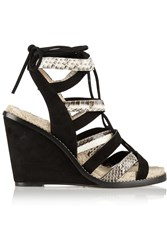 Paul Andrew Elaphe And Suede Espadrille Wedge Sandals Black