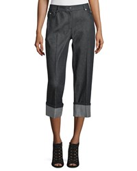 Michael Kors Straight Leg Cuffed Denim Jeans Black Women's