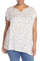 Plus Size Women's Caslon Print Sleeveless Asymmetrical Hem Blouse White Yellow Floral Print