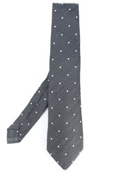 Kiton Dots Frayed Tie Men Silk One Size Grey