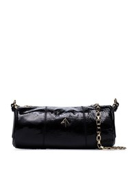 Manu Atelier Crinkled Cylinder Shoulder Bag Black