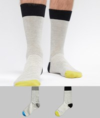 Selected Homme 2 Pack Socks With Heel Colour Pop Black M Grey Multi