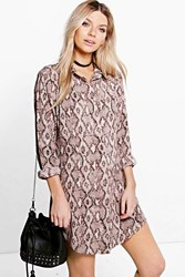 Boohoo Snake Print Shirt Dress Nude