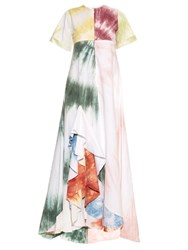 Rosie Assoulin Gonzo Tie Dye Ruffle Maxi Dress White Multi