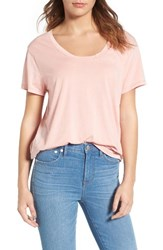 Treasure And Bond Women's Burnout Boyfriend Tee Coral Almond