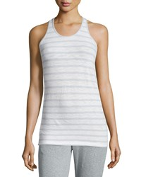 Skin June Striped Racerback Tank White Moonlight