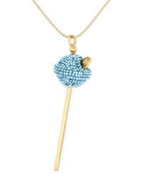 Sis By Simone I Smith 18K Gold Over Sterling Silver Necklace Medium Light Blue Crystal Lollipop Pendant