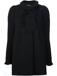 Paule Ka Ruffle Detail Coat Black