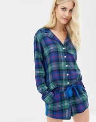 Abercrombie And Fitch Pyjama Shorts In Tartan With Side Panel Navy Plaid