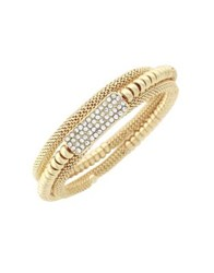 Jessica Simpson Crystal Coil Wrapped Bracelet Gold