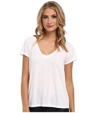 Lamade Short Sleeve Low V Neck Boyfriend Tee White Women's Short Sleeve Pullover