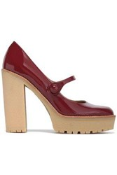 Red Valentino Patent Leather Platform Mary Jane Pumps Merlot
