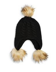 Michael Michael Kors Faux Fur Trimmed Knit Hat Black