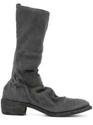 Guidi Soft High Boots Men Linen Flax Leather 43 Black