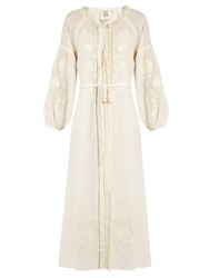 Figue Tula Embroidered Silk Dress Ivory