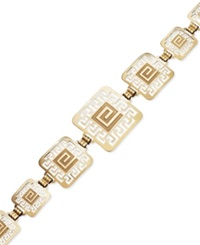 Macy's 14K Gold Over Sterling Silver And Sterling Silver Bracelet Greek Key Square