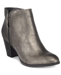 Style And Co Jamila Zip Booties Only At Macy's Women's Shoes Pewter