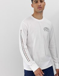 Element Long Sleeve T Shirt With Sleeve Print In White