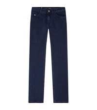 Stefano Ricci Slim Hand Painted Patch Jeans Male Dark Blue