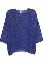 M Missoni Metallic Crochet Knit Top Blue