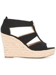 Michael Michael Kors Zip Detail Wedge Sandals Women Leather Canvas Rubber 6 Black