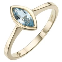 A B Davis 9Ct Gold Marquise Cut Rubover Ring Aquamarine