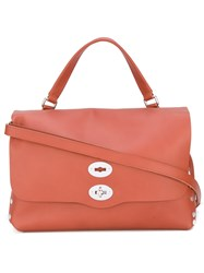 Zanellato Studded Sides Foldover Tote Women Leather One Size Red