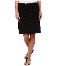 Xcvi Double Shirred Panel Knee Length Skirt Black Women's Skirt