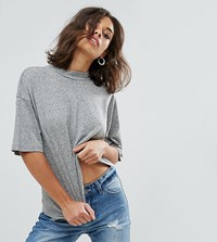 Noisy May Petite High Neck Tee Gray