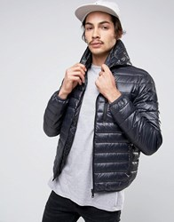 Replay Reversible Quilted Hooded Jacket In Black And Digi Print Black