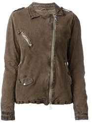 Giorgio Brato Distressed Zipped Jacket Brown