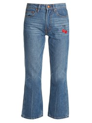 Bliss And Mischief Cherry Embroidered Mid Rise Flared Cropped Jeans Denim