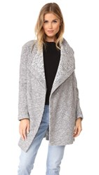 Bb Dakota Maggie Drape Front Coat Light Heather Grey