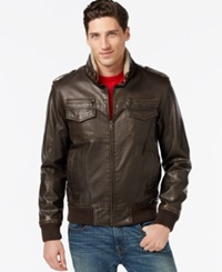 Tommy Hilfiger Faux Leather Faux Fur Military Bomber Jacket