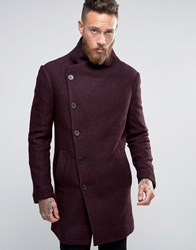 Religion Overcoat With Asymmetric Buttons Burg Red
