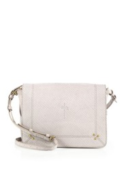 Jerome Dreyfuss Igor Embossed Leather And Suede Messenger Bag Light Grey