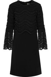 Lela Rose Guipure Lace Paneled Wool Blend Crepe Mini Dress Black