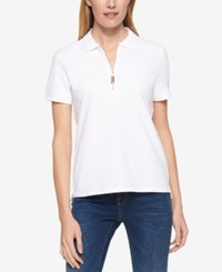 Tommy Hilfiger Zip Up Polo Top Only At Macy's White
