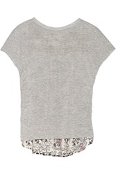 Thakoon Addition Jersey And Printed Eyelet Cotton Top Gray