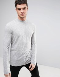 Asos Long Sleeve T Shirt In Grey Textured Fabric With Turtle Neck Light Grey