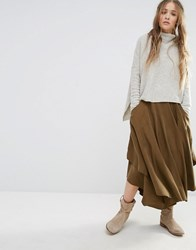 Free People Falling Midi Skirt Olive Green