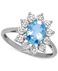 Macy's Blue Topaz 1 3 8 Ct. T.W. And Diamond Accent Ring In 14K White Gold