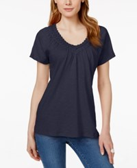 Jm Collection Crochet Trim V Neck Tee Only At Macy's Intrepid Blue