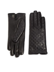 Gucci Logo Embossed Leather Gloves Cocoa Black