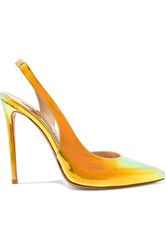 Alexandre Vauthier Amber Iridescent Leather Slingback Pumps Gold