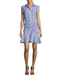 Veronica Beard Bell Sleeveless Striped Flounce Dress Blue White Blue White