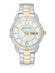 Saks Fifth Avenue Two Tone Stainless Steel And Mother Of Pearl Round Watch Silver Gold
