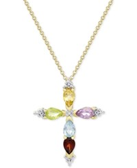 Macy's Multi Gemstone Cross Pendant Necklace 1 1 6 Ct. T.W. In 18K Gold Plated Sterling Silver