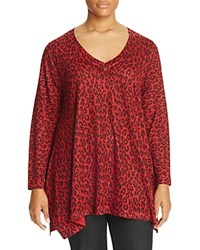 Nally And Millie Plus Leopard Print Handkerchief Tunic Red
