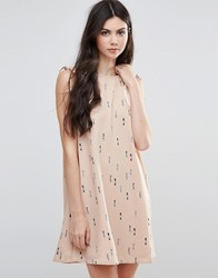Vila Printed Skater Dress With Tie Sleeve Tan